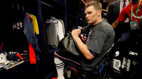 HOUSTON, TX - FEBRUARY 05:  Tom Brady #12 of the New England Patriots looks for his missing jersey in the locker room after defeating the Atlanta Falcons during Super Bowl 51 at NRG Stadium on February 5, 2017 in Houston, Texas. The Patriots defeated the Falcons 34-28.  (Photo by Kevin C. Cox/Getty Images)