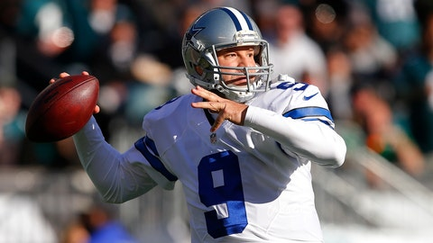PHILADELPHIA, PA - JANUARY 01: Quarterback Tony Romo #9 of the Dallas Cowboys attempts a pass against the Philadelphia Eagles during the second quarter of a game at Lincoln Financial Field on January 1, 2017 in Philadelphia, Pennsylvania. (Photo by Rich Schultz/Getty Images)