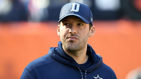 CLEVELAND, OH - NOVEMBER 06:  Tony Romo #9 of the Dallas Cowboys looks on from the sideline in the first half against the Cleveland Browns at FirstEnergy Stadium on November 6, 2016 in Cleveland, Ohio.  (Photo by Jason Miller/Getty Images)