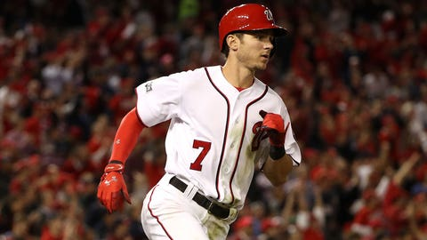 WASHINGTON, DC - OCTOBER 13: Trea Turner #7 of the Washington Nationals runs to first base after hitting a single against the Los Angeles Dodgers in the third inning during game five of the National League Division Series at Nationals Park on October 13, 2016 in Washington, DC. (Photo by Patrick Smith/Getty Images)