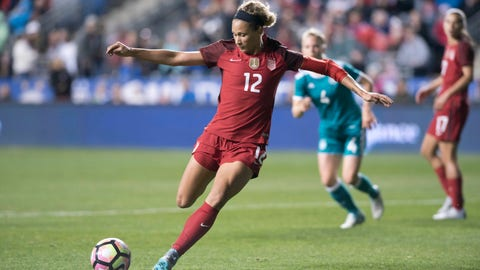 CHESTER, PA - MARCH 01: United States Forward Lynn Williams (12) shoots and scores a goal in the second half during the game between the United States Women's National Soccer Team and the Germany Women's National Soccer Team on March 01, 2017 at Talen Energy Stadium in Chester, PA. (Photo by Kyle Ross/Icon Sportswire) (Icon Sportswire via AP Images)