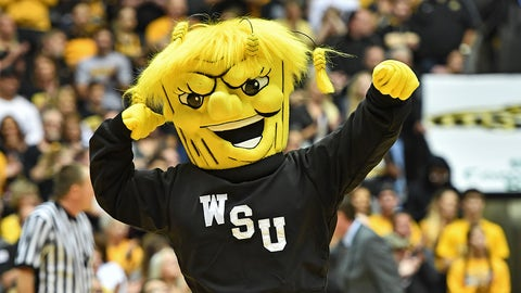 WICHITA, KS - NOVEMBER 16:  The mascot of the Wichita State Shockers performs during a game against the Tulsa Golden Hurricane on November 16, 2016 at Charles Koch Arena in Wichita, Kansas.  (Photo by Peter G. Aiken/Getty Images) *** Local Caption ***