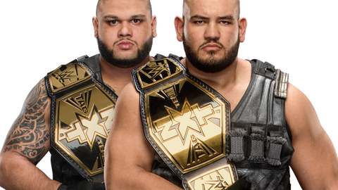 The old NXT Tag Team Championships (worn by current champions Authors of Pain)