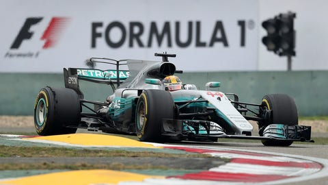 Mercedes driver Lewis Hamilton of Britain steers his car during the Chinese Formula One Grand Prix at the Shanghai International Circuit in Shanghai, China, Sunday, April 9, 2017. (AP Photo/Mark Schiefelbein)