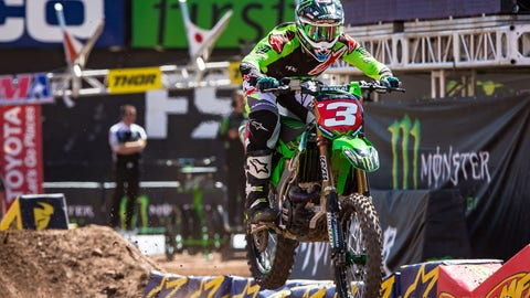 Eli Tomac leads the points with two rounds to go. (Photo: Supercross)