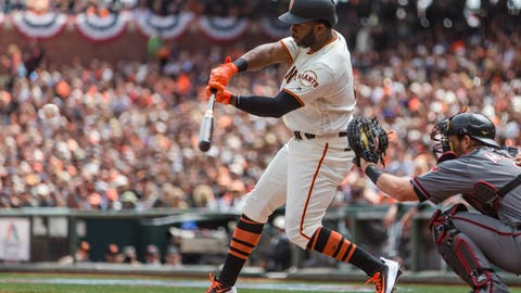 Apr 10, 2017; San Francisco, CA, USA; San Francisco Giants center fielder Denard Span (2) hits a double against the Arizona Diamondbacks in the first inning at AT&T Park. The Giants won 4-1. Mandatory Credit: John Hefti-USA TODAY Sports