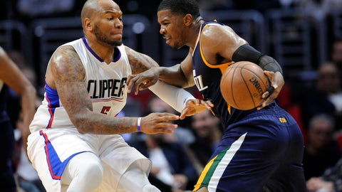 April 18, 2017; Los Angeles, CA, USA; Utah Jazz forward Joe Johnson (6) moves the ball against Los Angeles Clippers center Marreese Speights (5) during the second half in game two of the first round of the 2017 NBA Playoffs at Staples Center. Mandatory Credit: Gary A. Vasquez-USA TODAY Sports