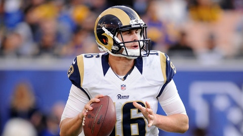Los Angeles Rams quarterback Jared Goff (16) scrambles with the ball during the fourth quarter of a game against the Arizona Cardinals played at the Los Angeles Memorial Coliseum in Los Angeles on Sunday, Jan. 1, 2017. (AP Photo/John Cordes)