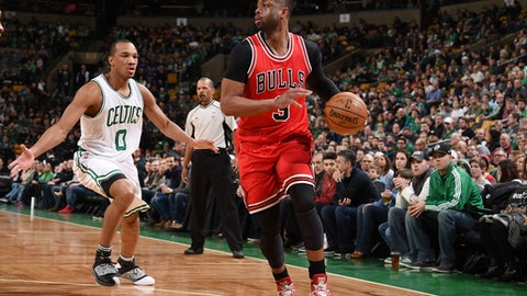 BOSTON, MA - MARCH 12: Dwyane Wade #3 of the Chicago Bulls handles the ball against the Boston Celtics during the game on March 12, 2017 at the TD Garden in Boston, Massachusetts.  NOTE TO USER: User expressly acknowledges and agrees that, by downloading and or using this photograph, User is consenting to the terms and conditions of the Getty Images License Agreement. Mandatory Copyright Notice: Copyright 2017 NBAE  (Photo by Brian Babineau/NBAE via Getty Images)