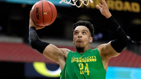 Oregon's Dillon Brooks dunks during a practice session for their NCAA Final Four tournament college basketball semifinal game Friday, March 31, 2017, in Glendale, Ariz. (AP Photo/Mark Humphrey)