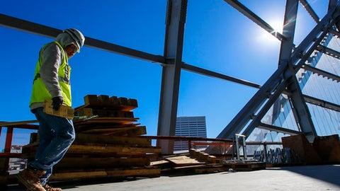 Construction of the new Mercedes Benz Stadium for the Atlanta Falcons, Friday, Dec. 2, 2016, in Atlanta. (AP Photo/Butch Dill)