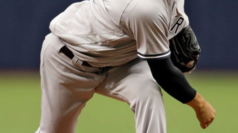 New York Yankees starting pitcher Masahiro Tanaka, of Japan, delivers to the Tampa Bay Rays during the first inning of a baseball game Sunday, April 2, 2017, in St. Petersburg, Fla. (AP Photo/Chris O'Meara)