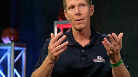 Gonzaga head coach Mark Few talks during the CBS Sports Network interview for the Final Four NCAA college basketball tournament, Sunday, April 2, 2017, in Glendale, Ariz. (AP Photo/David J. Phillip)