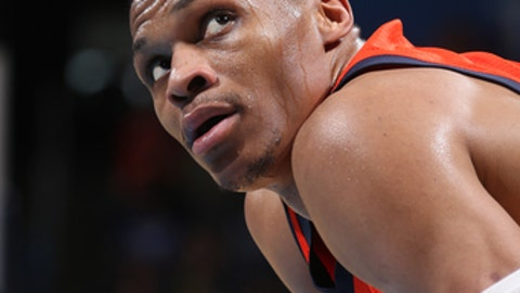 OKLAHOMA CITY, OK- APRIL 2:  Russell Westbrook #0 of the Oklahoma City Thunder looks on during the game against the Charlotte Hornets on April 2, 2017 at Chesapeake Energy Arena in Oklahoma City, Oklahoma. NOTE TO USER: User expressly acknowledges and agrees that, by downloading and or using this photograph, User is consenting to the terms and conditions of the Getty Images License Agreement. Mandatory Copyright Notice: Copyright 2017 NBAE (Photo by Layne Murdoch Sr./NBAE via Getty Images)