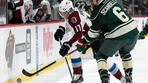 Colorado Avalanche right wing Rene Bourque (17) and Minnesota Wild defenseman Marco Scandella (6) go after the puck during the second period of an NHL hockey game Sunday, April 2, 2017, in St. Paul, Minn. (AP Photo/Hannah Foslien)