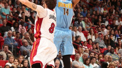 MIAMI, FL - APRIL 2:  Gary Harris #14 of the Denver Nuggets shoots the ball against the Miami Heat on April 2, 2017 at American Airlines Arena in Miami, Florida. NOTE TO USER: User expressly acknowledges and agrees that, by downloading and or using this Photograph, user is consenting to the terms and conditions of the Getty Images License Agreement. Mandatory Copyright Notice: Copyright 2017 NBAE (Photo by Issac Baldizon/NBAE via Getty Images)