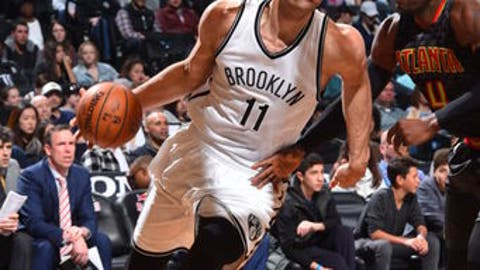 BROOKLYN, NY - APRIL 2 :  Brook Lopez #11 of the Brooklyn Nets drives to the basket against the Atlanta Hawks on April 2, 2017 at Barclays Center in Brooklyn, New York. NOTE TO USER: User expressly acknowledges and agrees that, by downloading and or using this Photograph, user is consenting to the terms and conditions of the Getty Images License Agreement. Mandatory Copyright Notice: Copyright 2017 NBAE (Photo by Jesse D. Garrabrant/NBAE via Getty Images)