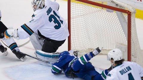 San Jose Sharks' goalie Martin Jones, left, makes a glove save as Vancouver Canucks' Griffen Molino crashes into the net during the second period of an NHL hockey game in Vancouver, British Columbia, Sunday, April 2, 2017. (Darryl Dyck/The Canadian Press via AP)