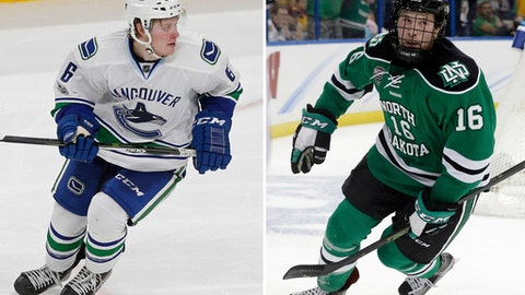 FILE - At left, in a March 25, 2017, file photo, Vancouver Canucks' Brock Boeser makes his NHL debut in an NHL hockey game against the Minnesota Wild, in St. Paul, Minn. At right, in an April 9, 2016, file photo, North Dakota forward Brock Boeser (16) celebrates his shorthanded goal against Quinnipiac during the first period of an NCAA Frozen Four championship college hockey game, in Tampa, Fla. After North Dakota lost the seventh-longest game in NCAA Tournament history, Boeser traveled back to campus, told coaches and teammates he decided to turn pro and the next morning boarded a flight from Grand Forks to Minneapolis. He signed his first NHL contract, got a crash course on systems from the coaching staff and was in the Vancouver Canucks' lineup at 1 p.m. against his hometown Minnesota Wild. (AP Photo/File)