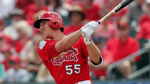 FILE - In this March 23, 2017, file photo, St. Louis Cardinals right fielder Stephen Piscotty (55) bats against the Miami Marlins in a spring training baseball game, in Jupiter, Fla. St. Louis has continued its pattern of locking up young players through the early years of their free agency by signing right fielder Stephen Piscotty to a six-year, $33.5-million contract that could possibly keep him with the Cardinals through the 2023 season with another option year. (AP Photo/John Bazemore, File)