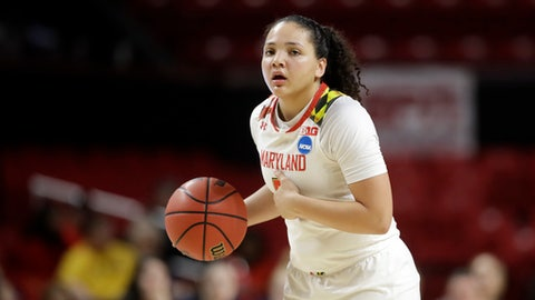 """DELETES REFERENCE TO SLOCUM LEAVING BECAUSE OF """"PERSONAL FAMILY ISSUES """" FILE - In this March 17, 2017, file photo, Maryland guard Destiny Slocum drives the ball in the second half of a first-round game against Bucknell in the women's NCAA college basketball tournament in College Park, Md. The school announced Tuesday, April 4, 2017, the 5-foot-7 guard from Idaho has been granted permission to transfer. Slocum says she's """"talked with my family and (coach Brenda Frese) a great deal and have decided to continue my college career elsewhere."""" (AP Photo/Patrick Semansky, File)"""