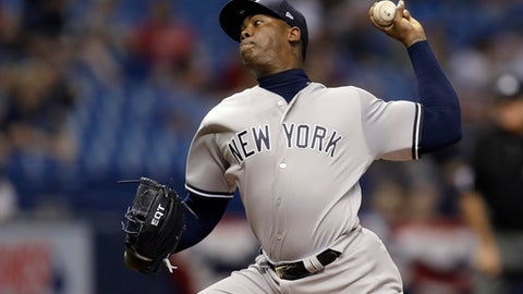 New York Yankees' Aroldis Chapman pitches to the Tampa Bay Rays during the ninth inning of a baseball game Tuesday, April 4, 2017, in St. Petersburg, Fla. The Yankees won the game 5-0. (AP Photo/Chris O'Meara)