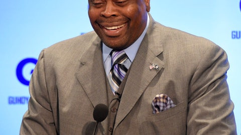 Georgetown's new basketball head coach Patrick Ewing reacts duringan NCAA college basketball press conference to formally announce his hiring, Wednesday, April 5, 2017, in Washington. (AP Photo/Nick Wass)