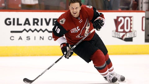 FILE - In this Dec. 27, 2016, file photo, Arizona Coyotes' Shane Doan skates during pre-game warm up before an NHL hockey game against the Dallas Stars, in Glendale, Ariz. Bothered by an injury that is costing him games at what could be the end of his career, Coyotes captain Shane Doan has come to peace with the fact that he won't win a Stanley Cup. (AP Photo/Ralph Freso, File)