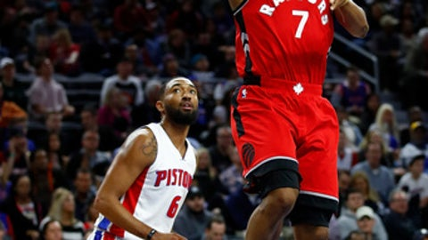 AUBURN HILLS, MI - APRIL 05: Kyle Lowry #7 of the Toronto Raptors drives to the basket past Darrun Hilliard #6 of the Detroit Pistons during the first half at the Palace of Auburn Hills on April 5, 2017 in Auburn Hills, Michigan. NOTE TO USER: User expressly acknowledges and agrees that, by downloading and or using this photograph, User is consenting to the terms and conditions of the Getty Images License Agreement.  (Photo by Gregory Shamus/Getty Images)