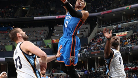 MEMPHIS, TN - APRIL 5:  Russell Westbrook #0 of the Oklahoma City Thunder goes up for a shot during a game against the Memphis Grizzlies on April 5, 2017 at FedExForum in Memphis, Tennessee. NOTE TO USER: User expressly acknowledges and agrees that, by downloading and/or using this photograph, user is consenting to the terms and conditions of the Getty Images License Agreement. Mandatory Copyright Notice: Copyright 2017 NBAE (Photo by Joe Murphy/NBAE via Getty Images)