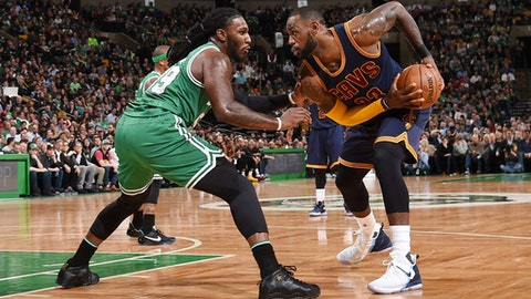 BOSTON, MA - APRIL 5: LeBron James #23 of the Cleveland Cavaliers handles the ball against the Boston Celtics during the game on April 5, 2017 at the TD Garden in Boston, Massachusetts.  NOTE TO USER: User expressly acknowledges and agrees that, by downloading and or using this photograph, User is consenting to the terms and conditions of the Getty Images License Agreement. Mandatory Copyright Notice: Copyright 2017 NBAE  (Photo by Brian Babineau/NBAE via Getty Images)