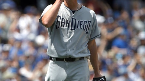 San Diego Padres pitcher Jered Weaver reacts after Los Angeles Dodgers' Yasiel Puig hits his second two-run home run, of the game, during the fourth inning of a baseball game in Los Angeles, Thursday, April 6, 2017. (AP Photo/Alex Gallardo)