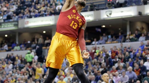 INDIANAPOLIS, IN - APRIL 06:  Paul George #13 of the Indiana Pacers dunks the ball against the Milwaukee Bucks  at Bankers Life Fieldhouse on April 6, 2017 in Indianapolis, Indiana.    NOTE TO USER: User expressly acknowledges and agrees that, by downloading and or using this photograph, User is consenting to the terms and conditions of the Getty Images License Agreement  (Photo by Andy Lyons/Getty Images)
