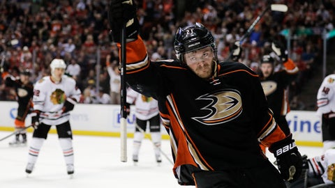 Anaheim Ducks' Chris Wagner celebrates his goal against the Chicago Blackhawks during the second period of an NHL hockey game Thursday, April 6, 2017, in Anaheim, Calif. (AP Photo/Jae C. Hong)