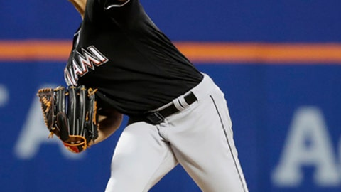 Miami Marlins starter Wei-Yin Chen delivers a pitch during the first inning of a baseball game against the New York Mets on Friday, April 7, 2017, in New York. (AP Photo/Frank Franklin II)