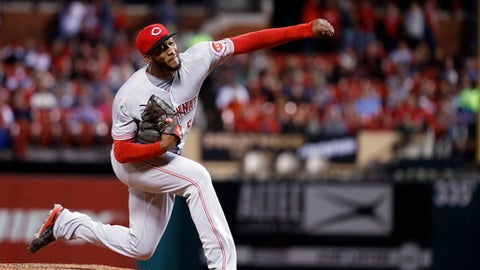 Cincinnati Reds starting pitcher Amir Garrett throws during the fourth inning of the team's baseball game against the St. Louis Cardinals on Friday, April 7, 2017, in St. Louis. (AP Photo/Jeff Roberson)