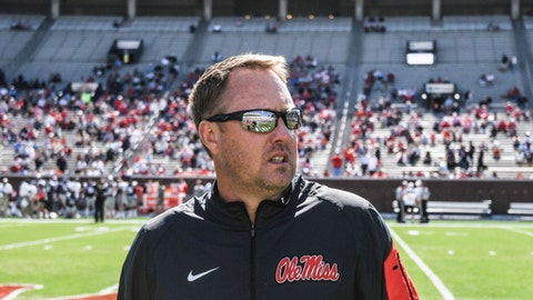 Mississippi head coach Hugh Freeze looks into the stands during the Grove Bowl spring football game at Vaught-Hemingway Stadium in Oxford, Miss. on Saturday, April 8, 2017. (Bruce Newman, /The Oxford Eagle via AP)  /The Oxford Eagle via AP)