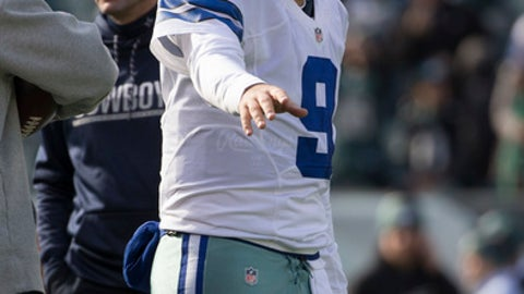 PHILADELPHIA, PA - JANUARY 1: Tony Romo #9 of the Dallas Cowboys warms up prior to the game against the Philadelphia Eagles at Lincoln Financial Field on January 1, 2017 in Philadelphia, Pennsylvania. The Eagles defeated the Cowboys 27-13. (Photo by Mitchell Leff/Getty Images)