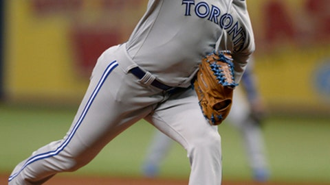 Toronto Blue Jays starting pitcher Aaron Sanchez delivers to the Tampa Bay Rays during the first inning of a baseball game Saturday, April 8, 2017, in St. Petersburg, Fla. (AP Photo/Jason Behnken)