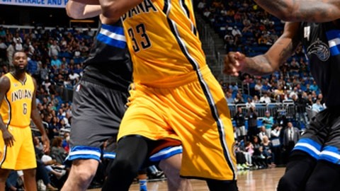 ORLANDO, FL - MARCH 24: Myles Turner #33 of the Indiana Pacers handles the ball against the Orlando Magic on March 24, 2017 at Amway Center in Orlando, Florida. NOTE TO USER: User expressly acknowledges and agrees that, by downloading and or using this photograph, User is consenting to the terms and conditions of the Getty Images License Agreement. Mandatory Copyright Notice: Copyright 2017 NBAE (Photo by Fernando Medina/NBAE via Getty Images)