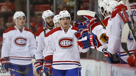 Montreal Canadiens left wing Artturi Lehkonen (62) celebrates his goal against the Detroit Red Wings in the second period of an NHL hockey game Saturday, April 8, 2017, in Detroit. (AP Photo/Paul Sancya)
