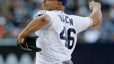 San Diego Padres starting pitcher Jhoulys Chacin throws to the plate against the San Francisco Giants during the first inning of a baseball game in San Diego, Saturday, April 8, 2017. (AP Photo/Alex Gallardo)