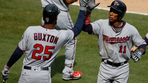 Minnesota Twins' Jorge Polanco, right, celebrates with Byron Buxton after hitting a solo home run against the Chicago White Sox during the seventh inning of a baseball game Sunday, April 9, 2017, in Chicago. The Twins won 4-1. (AP Photo/Nam Y. Huh)