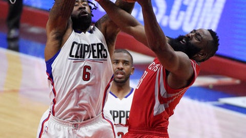 LOS ANGELES, CA - APRIL 10: James Harden #13 of the Houston Rockets is fouled by DeAndre Jordan #6 of the Los Angeles Clippers as he goes up for a layup during the first half of the basketball game at Staples Center April 10, 2017, in Los Angeles, California. NOTE TO USER: User expressly acknowledges and agrees that, by downloading and or using this photograph, User is consenting to the terms and conditions of the Getty Images License Agreement. (Photo by Kevork Djansezian/Getty Images)