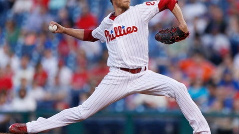Philadelphia Phillies starting pitcher Clay Buchholz throws during the first inning of the team's baseball game against the New York Mets, Tuesday, April 11, 2017, in Philadelphia. (AP Photo/Laurence Kesterson)