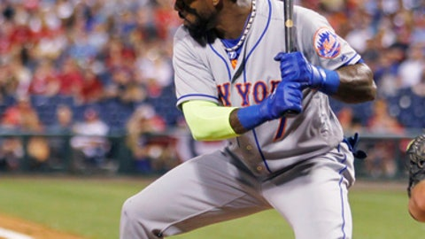 New York Mets' Jose Reyes bats during the third inning of a baseball game against the Philadelphia Phillies, Tuesday, April 11, 2017, in Philadelphia. Reyes doubled on the at-bat. (AP Photo/Laurence Kesterson)