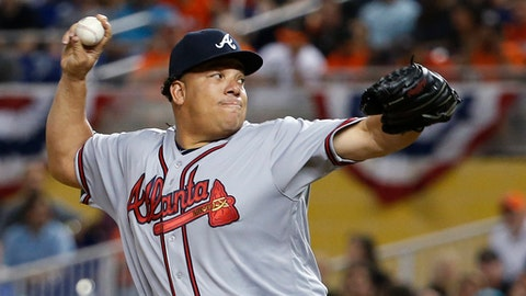 Atlanta Braves' Bartolo Colon delivers a pitch during the first inning of a baseball game against the Miami Marlins, Tuesday, April 11, 2017, in Miami. (AP Photo/Wilfredo Lee)