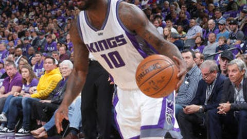 SACRAMENTO, CA - APRIL 11: Ty Lawson #10 of the Sacramento Kings handles the ball against the Phoenix Suns on April 11, 2017 at Golden 1 Center in Sacramento, California. NOTE TO USER: User expressly acknowledges and agrees that, by downloading and or using this Photograph, user is consenting to the terms and conditions of the Getty Images License Agreement. Mandatory Copyright Notice: Copyright 2017 NBAE (Photo by Rocky Widner/NBAE via Getty Images)