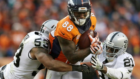 October 1: Oakland Raiders at Denver Broncos, 4:25 p.m. ET