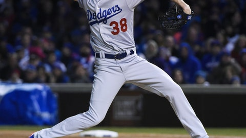 Los Angeles Dodgers starting pitcher Brandon McCarthy (38) delivers against the Chicago Cubs during the first inning of a baseball game on Wednesday, April 12, 2017, in Chicago. (AP Photo/Matt Marton)